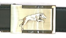 Greyhound Motif  Belt Buckle and Leather Belt in Gift Tin Ideal Hunting Present