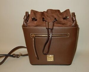 Dooney & Bourke Beacon Saffiano Drawstring Bucket Bag Brown