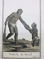 Brésil 1812 Indiens d'Amazonie Amérique Latine Rare Gravure Blanchard Ethnologie