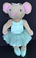 "Angelina Ballerina Plush Stuffed Mouse Doll Green Tutu Sababa Toys 2005 14"""