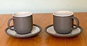 John Lewis & Partners Puritan Set of 2 Espresso Cups & Saucers - Dark Grey