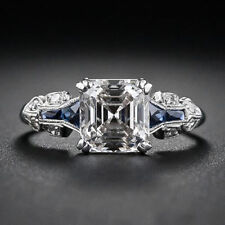 Engagement Ring In 925 Sterling Silver Vintage Design Asccher Shaped White Stone