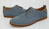 Mens Suede Shoes Oxford Soft Loafers Casuals Lace Up Flats Smart Size