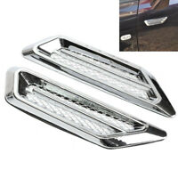 2x Plastic Chrome Car SUV Air Flow Fender Side Vent Decoration Sticker Universal
