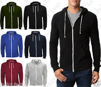 Mens Boys American Plain Fleece Hoodie Zip Up Sweatshirt Jacket size UK S-3XL