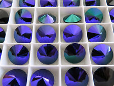 4 Jet Purple Glacier Blue Foiled Swarovski Rivoli Stone 1122 12mm