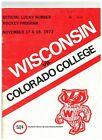 1972 Wisconsin Badgers vs Colorado College Vintage Hockey Program (JS)