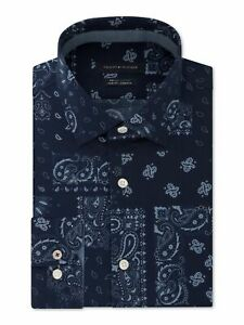 TOMMY HILFIGER Mens Navy Paisley Long Sleeve Collared Slim Fit Non Iron Dress