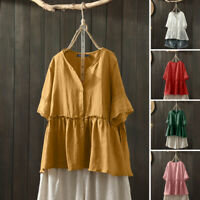 ZANZEA 8-24 Women Button Up Top Shirt Tee Ruffled Peplum Short Sleeve Blouse