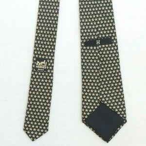 Vintage Hermes Paris 156 TA Black/Ivory Stars Motif 100% Silk Tie