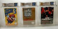 3 Wata Graded NES Game Lot - Mario 3 Left Bros, Tyson & Legend of Zelda!