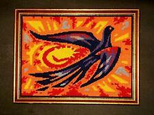 Vtg Mid Century Modernist Abstract Sunburst Bird Needlepoint  Wall Hanging Art