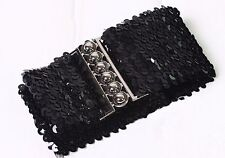 Women Glittery Metal Buckle Sequin Stretch Waist Belt XS S (Black/Silver/Gold)