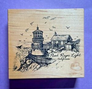 PSX Rubber Stamp Wood Mt Point Reyes Lighthouse California  Seascape K-2856 VTG