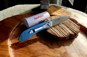 "Kershaw Kai 1450 Sapphire Liner Lock Folder Blue Titanium Handle 3"" Satin Blade"