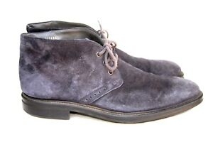Hugo Boss Italy Blue Suede Leather Ankle Chukka Boots Size Men's 46 = US 13