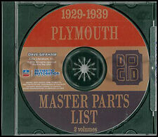 Plymouth Parts Book CD 1929 1930 1931 1932 1933 1934 1935 1936 1937 1938 1939