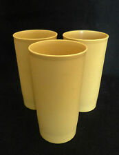 3 Vintage Tupperware 12 oz Harvest Color Gold Yellow Tumblers Cups