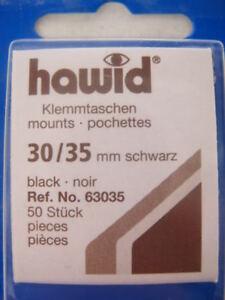 250 (5x50) HAWID 30/35MM STAMP MOUNTS BLACK, HIGH VALUE - SUPPLIES