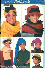 Butterick 4756 MISSES Francine Brown Scarves Hats Winter Pattern UNCUT FF XS-L