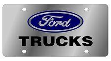 New Ford Trucks Blue Logo Stainless Steel License Plate