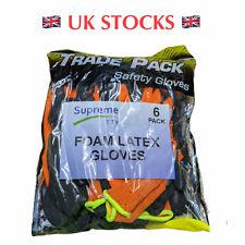 6 Pairs Orange Black Latex Foam Coated Hand Safety Work Gloves Size M L XL 2XL