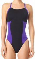 Speedo Womens Swimwear Black Purple Size 26 Endurance+ Flyback Swimsuit $79- 602