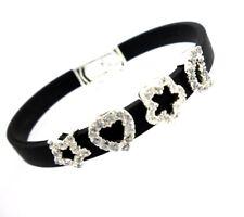 Heart Flower Moon Star Sterling Silver 925 Rubber Women Bracelet Black Band NEW