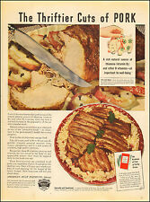 1942 WW2  AD AMERICAN MEAT Institute  Thrifty cuts of Pork Ribs and Kraut 041417