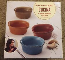 Stoneware Dipping Cup Set 4pc Assorted Colors Rachel Ray Cucina Rustic Bowls