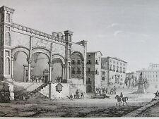 1845 PALERMO ATRIO CHIESA S. MARIA DELLA CATENA ANTICA INCISIONE STAMPA E19