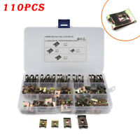 110pcs Mixed U-type Nuts Car Body Panel Fixed Steel Speed Fasteners Spire Clips