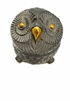 """Vintage MCM Brass Metal Owl Hinged Lid Music Box Plays Theme from """"Love Story"""""""