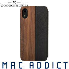 Woodcessories EcoFlip Real Wood & Leather Folio Wallet Case iPhone XR - Walnut
