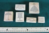 Stampin Up Blooming With Happiness Rubber Stamp Set of 6 Wooden 2006