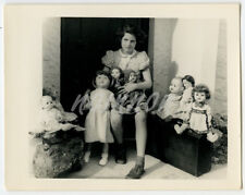 Small Real Photo - Young Girl - with her collection of DOLLS - a wide range.