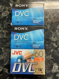 Lot of 3 (2 Sony and 1 JVC) new sealed Mini DVC tapes