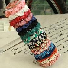 10pcs Girl Women Dot Print Scrunchie Ponytail Holder Hair Band Rope