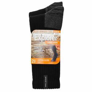 6 Pairs X Explorer Original Mens Cotton Crew Winter Camping Tough Socks Black
