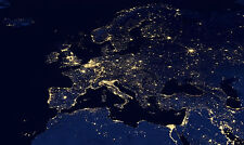Framed Print - Night Time View of Europe from Space (Picture Poster Map Art)