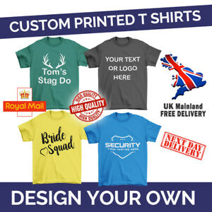 Personalised Printed T-Shirt, Add Your Custom Text, Adult Kids Child Tee Top