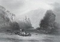 GERMANY Castle Wildenstein near Irndorf on Danube River 1840s Original Antique Print Intaglio by BARTLETT