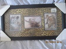 Lion, Panther, Leopard, Tiger , Cougar Art Wild Animals Print in Black Frame