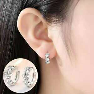 Shiny Solid 925 Sterling Silver 3 Flower CZ Hoop Circle Huggie  Earrings Gift UK