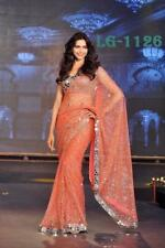 Sari Indian Bollywood Designer SEQUANCE Saree Lace Border Party Wear With Blouse