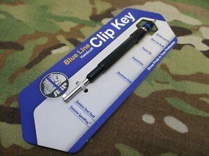 NEW ASP HANDCUFF KEY THIN BLUE LINE PEN STYLE w. POCKET CLIP HAND CUFF KEY