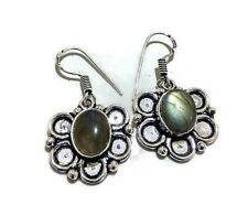 Gift For Her !! LABRADORITE Gemstone 925 Sterling Silver Plated Earring Jewelry