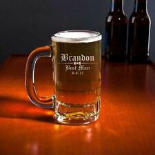 Personalized 12oz BEER MUG GLASS Engraved Stein ADD TEXT & IMAGES !!