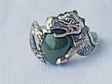 STERLING SILVER & NEPHRITE(GREEN JADE) DRAGON RING.SIZE 5