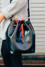 NWT ZARA BLACK LARGE BUCKET BAG WITH DETAILS RED INTERIOR REF. 8466/004